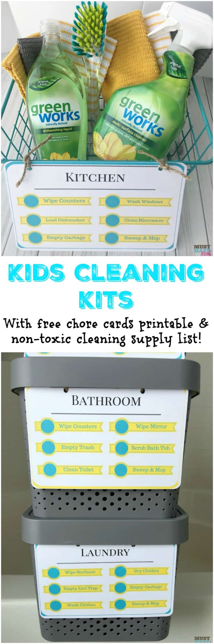 DIY Kids Cleaning Kits With Free Printable Cleaning Checklist - Bathroom cleaning supplies list