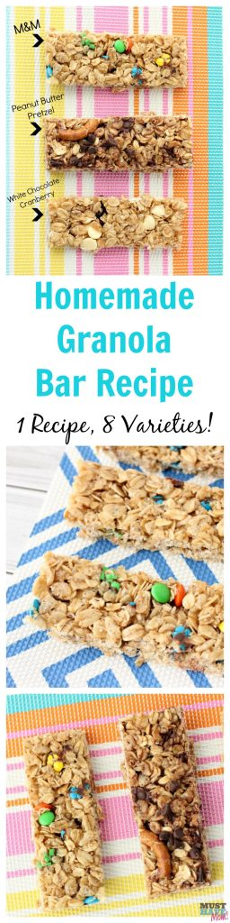 Easy homemade granola bars recipe base! 1 recipe with 8 different varieties! Homemade granola bars healthy, clean ingredients. She makes them every Sunday for the week!