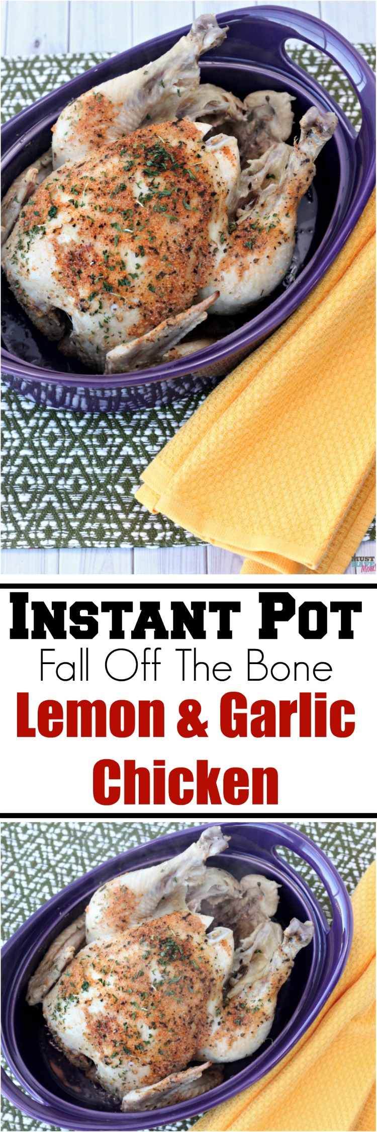 Instant Pot fall off the bone lemon and garlic chicken! Cook a whole chicken in 25 minutes in your pressure cooker! Pressure cooker chicken is so quick & easy. Save this recipe!