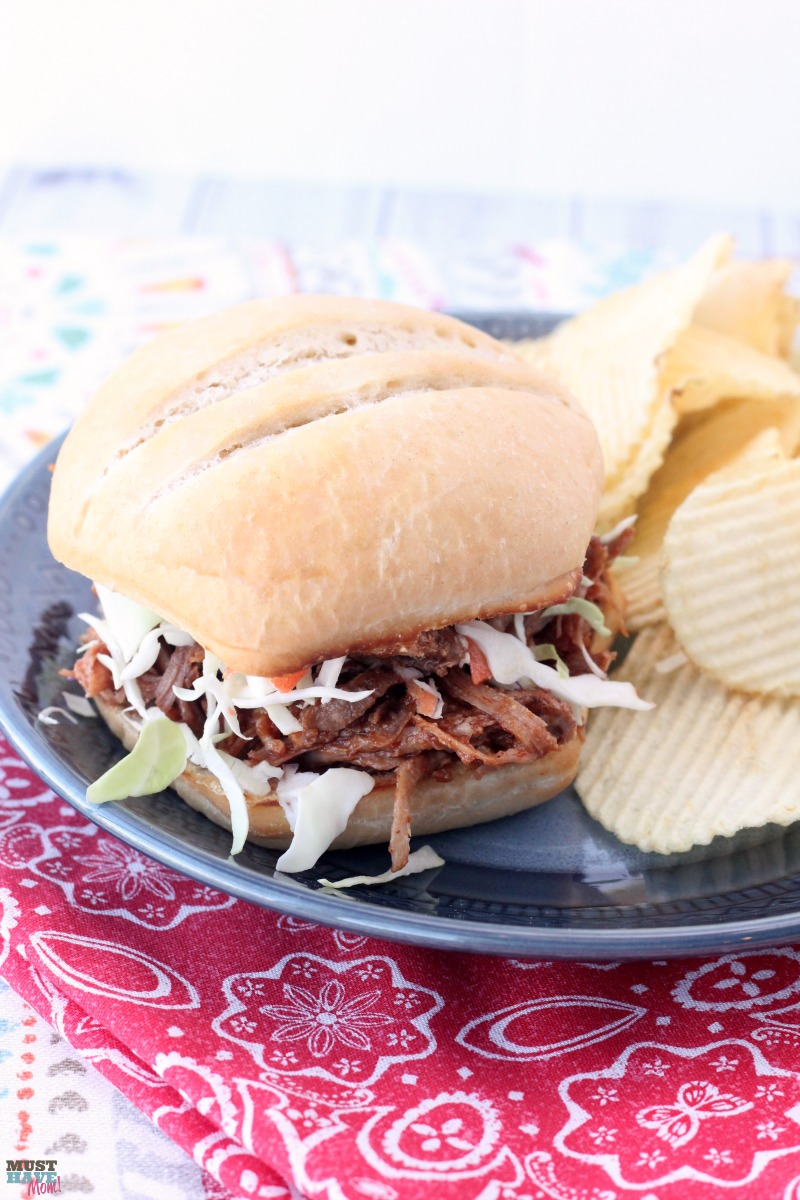 This Instant Pot BBQ pulled pork recipe is the BEST out there! The pressure cooker pulled pork literally fell apart and was so juicy and moist. Very flavorful dinner idea! Pin this recipe to favorites!