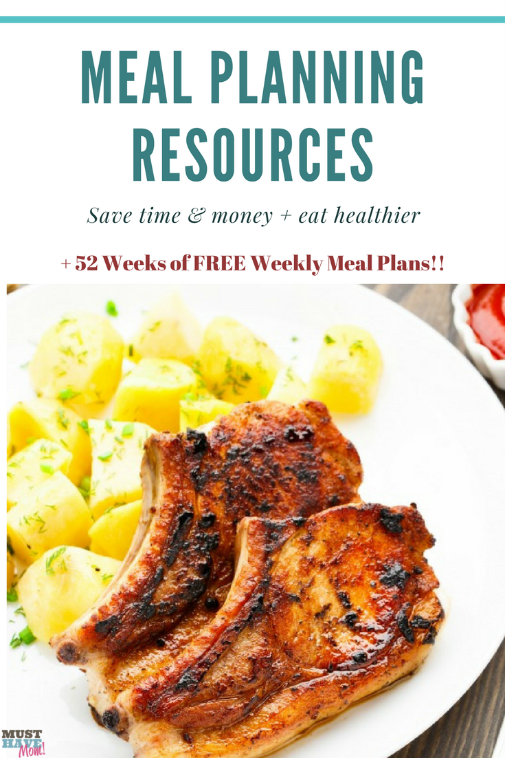 Meal planning resources to help busy families eat healthier, save time and save money. + 52 weeks of FREE weekly meal plans!! Grab it now!