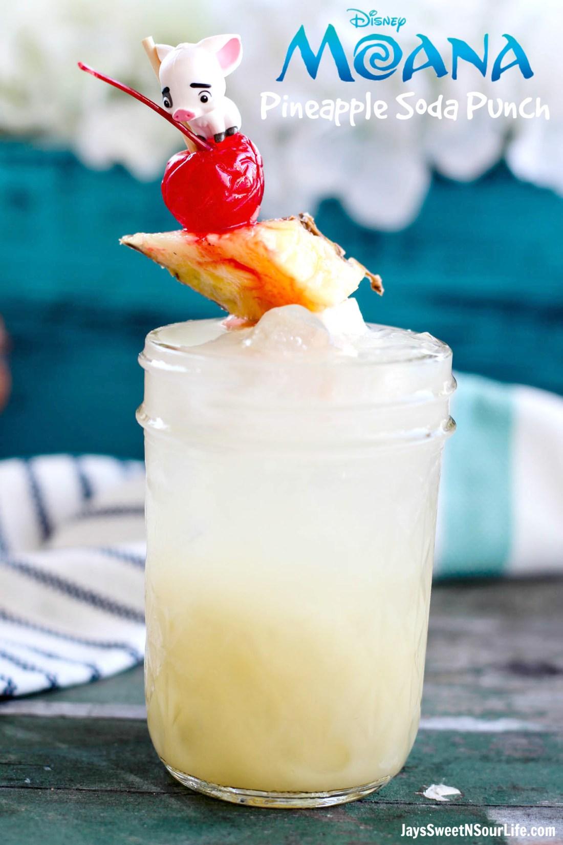 Moana Pineapple Soda Punch Recipe! Perfect for Moana party! Plus more Moana craft and recipe ideas!