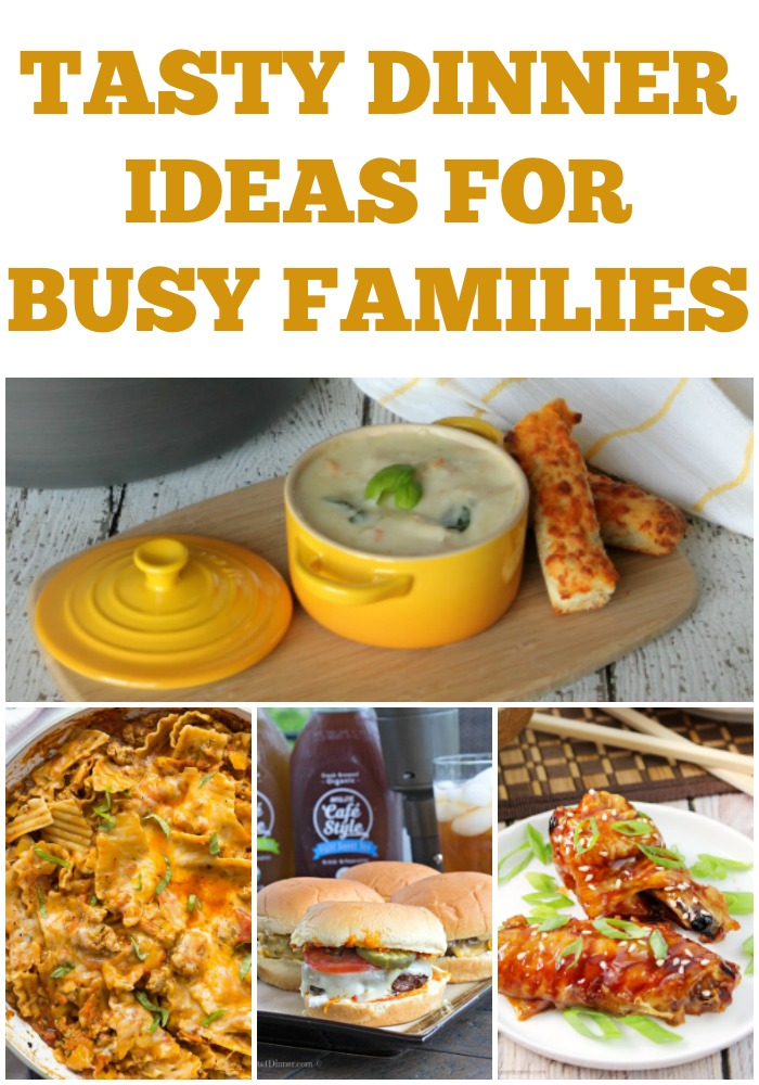 7 tasty dinner ideas for busy families! Grab this FREE weekly meal plan and one more each week for an entire YEAR of free meal plans!