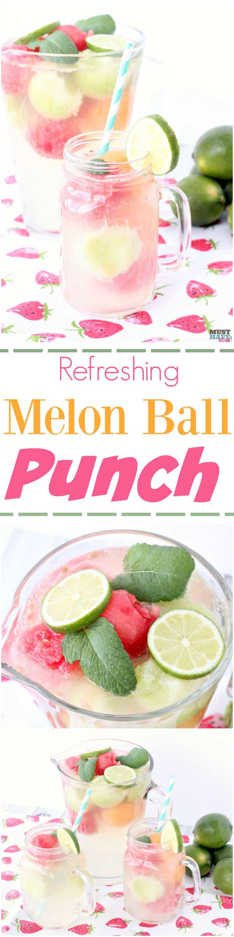delicious white grape juice punch melon ball drink