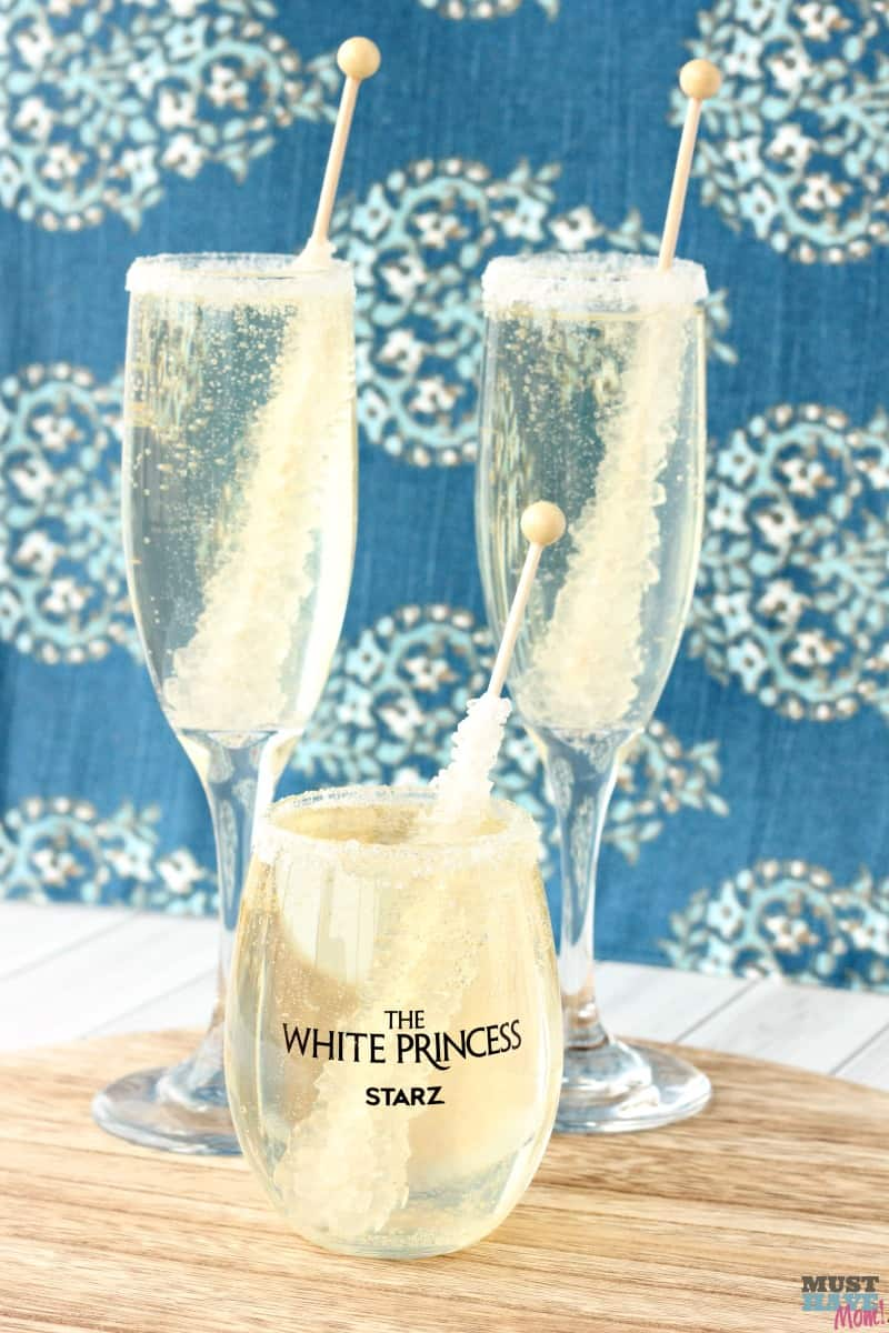 Non alcoholic champagne rock candy sucker drink