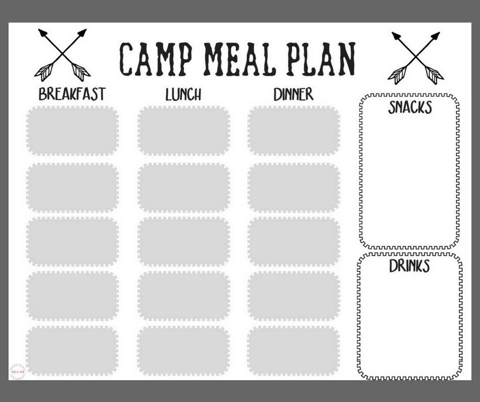 Free printables! Camping meal plan and camping food list for packing and prepping camp food ideas!