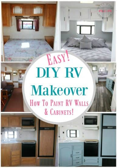 Easy diy rv makeover how to paint rv walls and cabinets Painting interior travel trailer walls