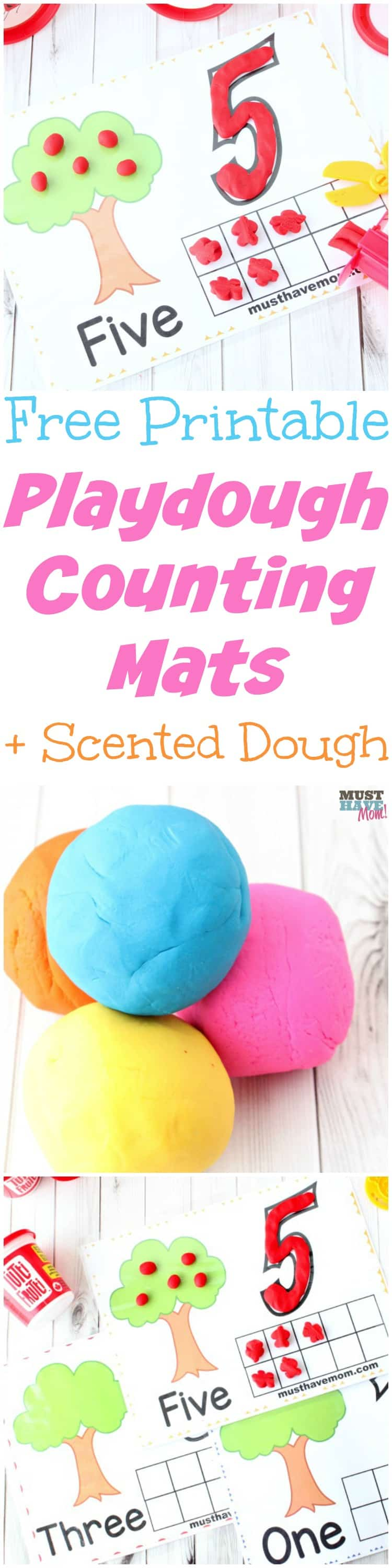 Free printable playdough mats! Free play dough activities help kids learn counting with scented play dough.