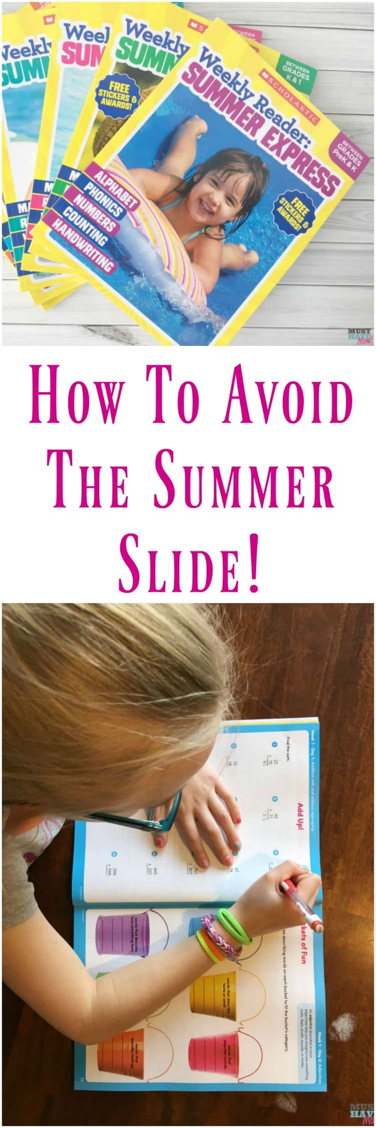 How to avoid the summer slide! Scholastic Weekly Reader Summer Express program helps kids learn all summer and not forget what they learned during the school year!