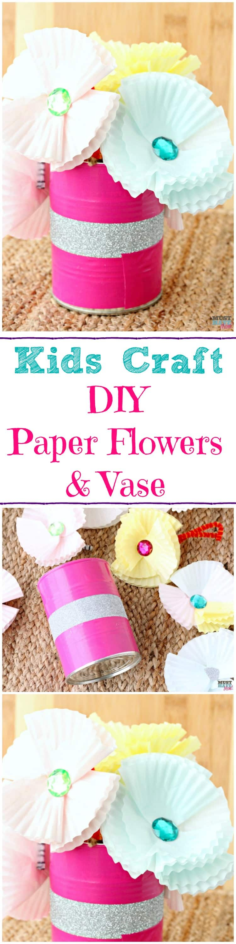 DIY Paper Flowers and Vase. Adorable Kids Craft for a Mother's Day gift idea. Mother Day craft for kids