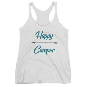 Happy Camper sporty woman's tank top with an arrow. Wear this trendy tank every time you go camping! Makes a great gift too.