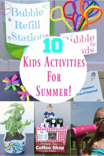 10 Kids activities for summer! Keep kids entertained all summer long with these ideas.
