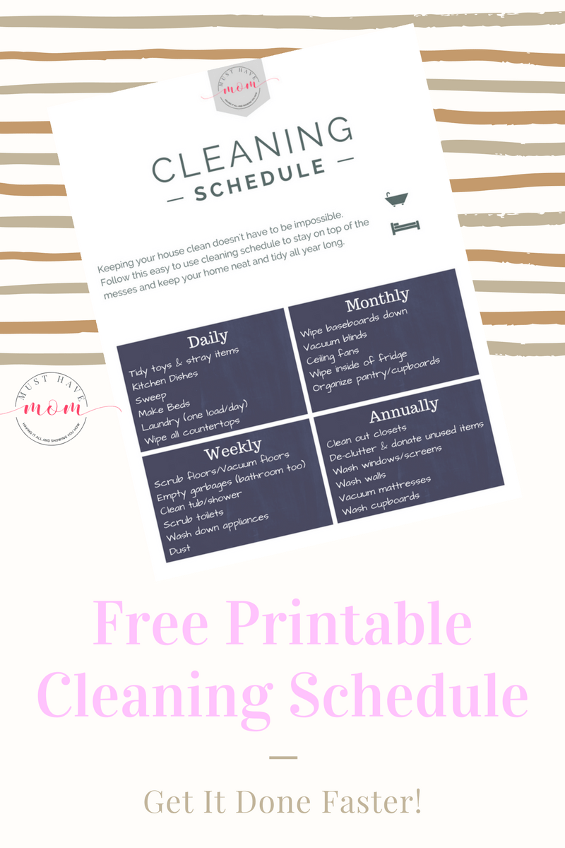 image relating to Free Printable Cleaning Schedule known as 15+ Cleansing Pointers For Fast paced Mothers + No cost Printable Cleansing