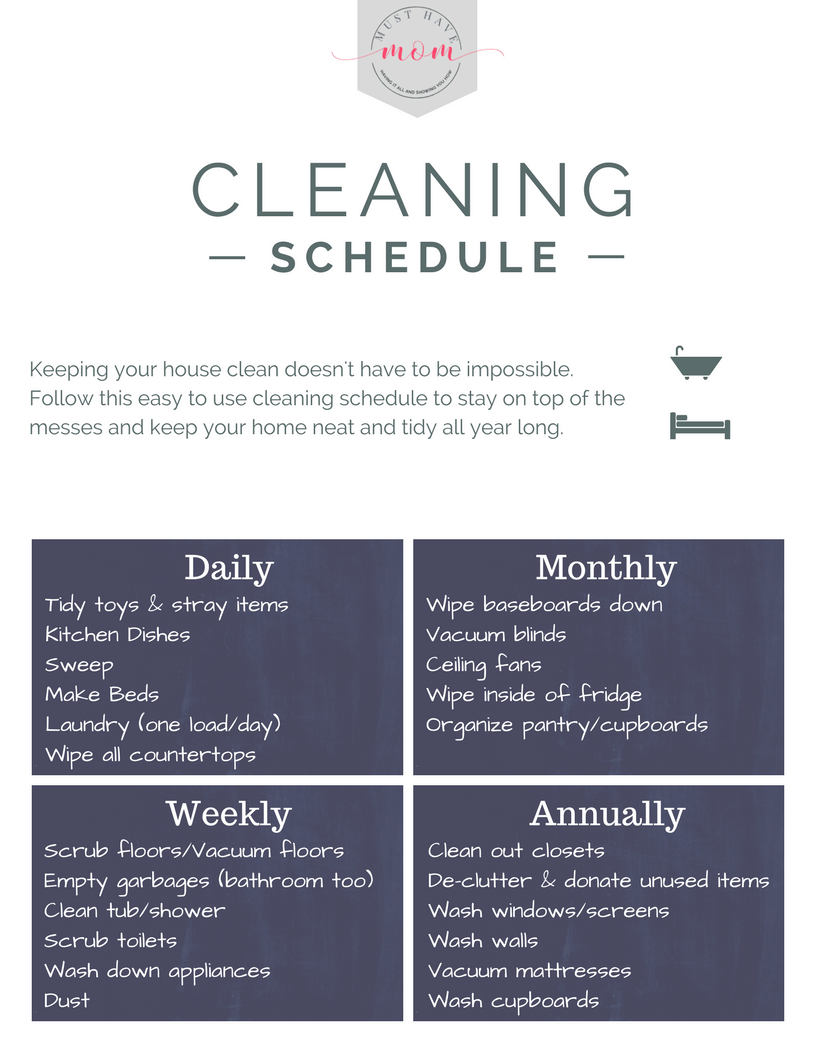 Free Printable Cleaning Schedule Must Have Mom