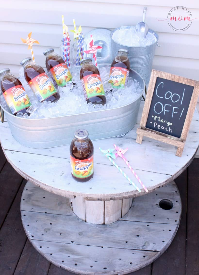 DIY outdoor beverage station idea! Farmhouse style drink station to stay cool outside.