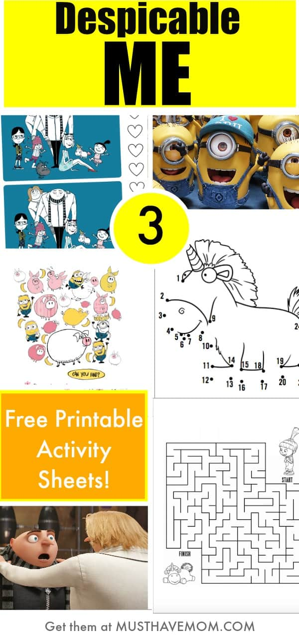 Despicable Me 3 free printables activity sheets! Minion activity sheets