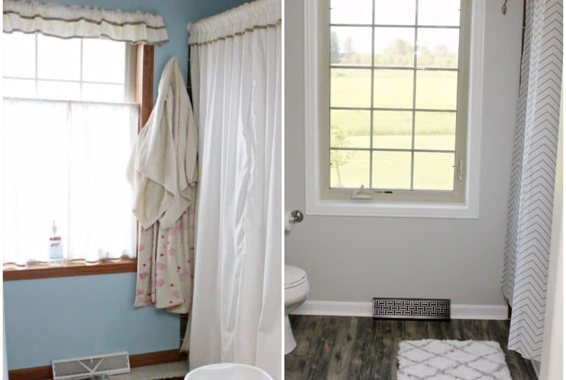 Fixer upper bathroom before and after. Get this look with her farmhouse bathroom DIY tutorial!