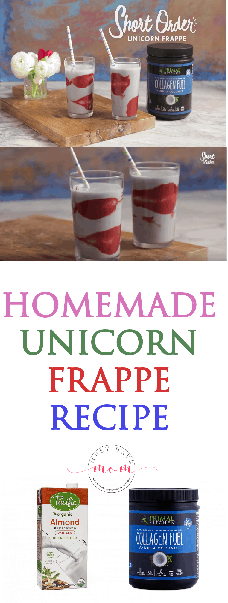 This homemade Unicorn Frappe recipe is easy to make, and features banana, coconut, and strawberry flavors.  A perfect drink for summer.