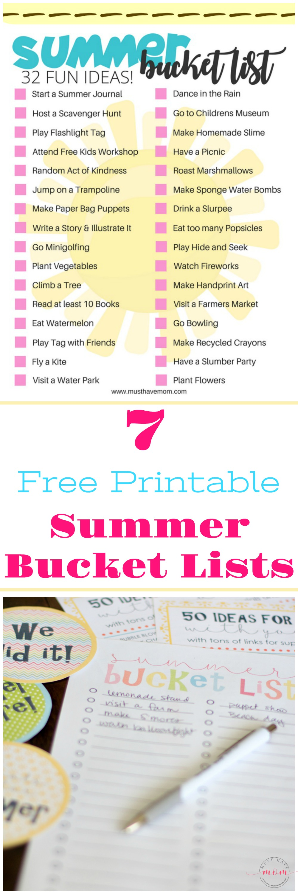 7 Free printable summer bucket lists! Spice up your summer with these fun bucket list ideas for kids and adults.