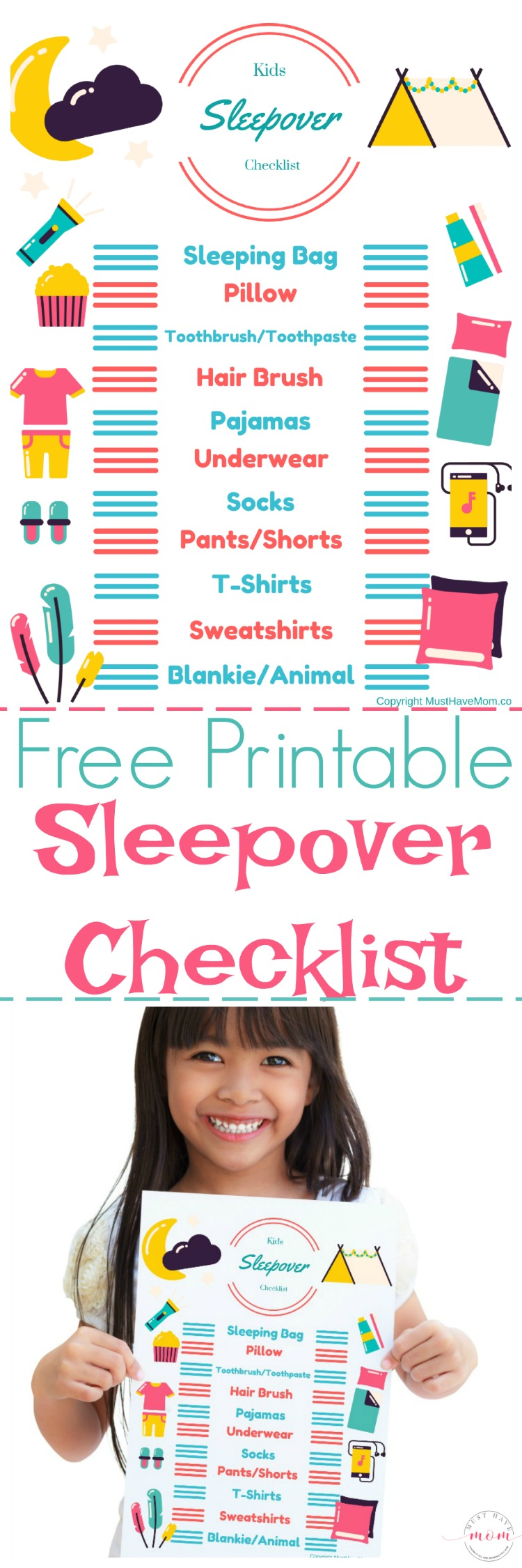 Free printable sleepover checklist for kids! Kids can pack their bags with this sleepover packing list!