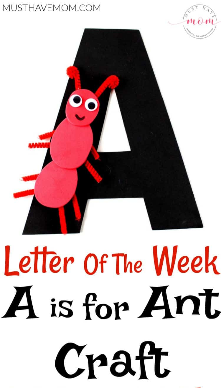A is for Ant alphabet letter crafts with free printable templates! Great educational kids activities