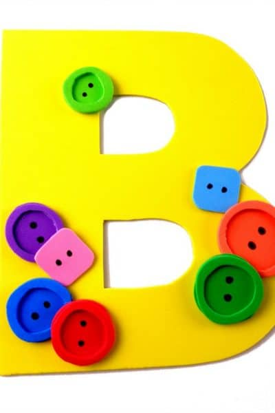 "Letter of the Week craft activity idea! Letter ""B"" is for Buttons craft DIY tutorial and free printable letter B template."
