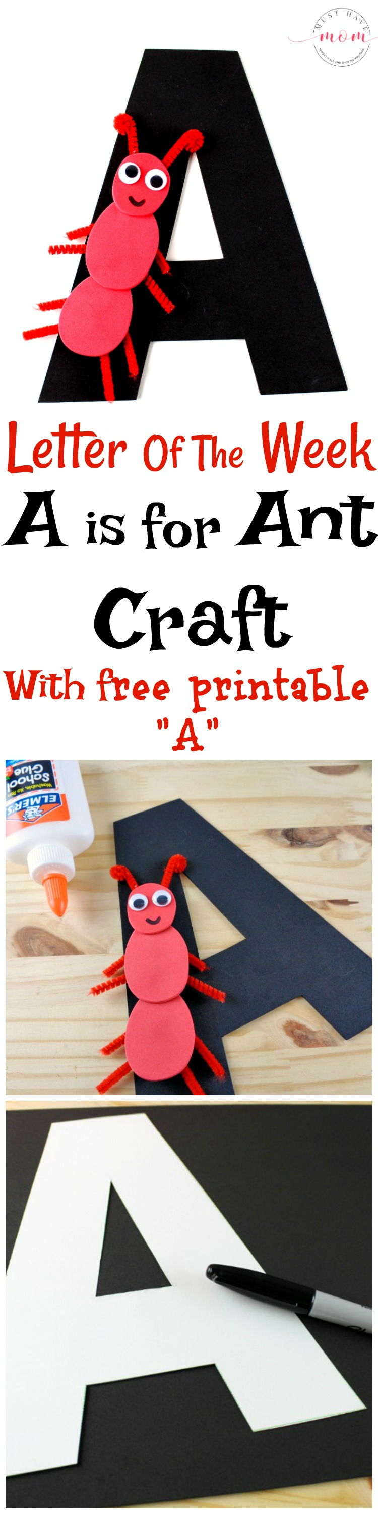 "Letter of the Week preschool activities! Letter recognition Letter A craft idea with free printable letter ""A"""