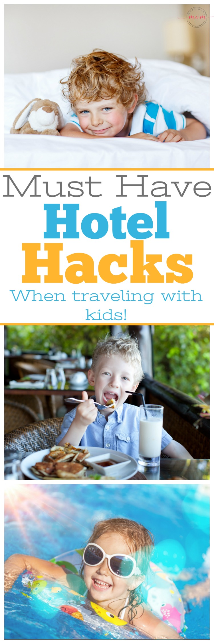 Must have hotel hacks when traveling with kids! Huge list of things to look for and hacks to make hotel travel easier!