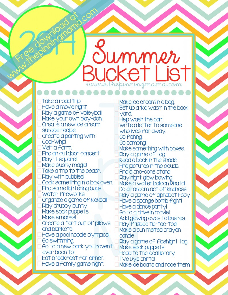 you have your own ideas of what you want to include on your summer