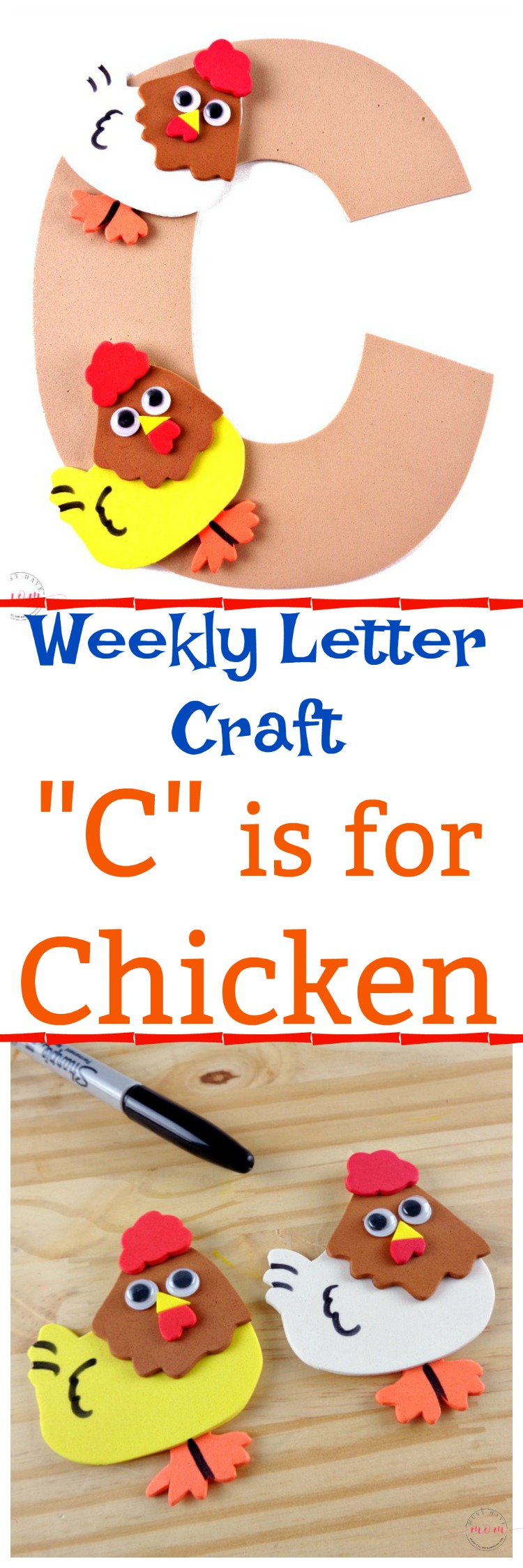 "Letter of the Week craft activity idea! Letter ""C"" is for Chicken craft DIY tutorial and free printable letter C template."