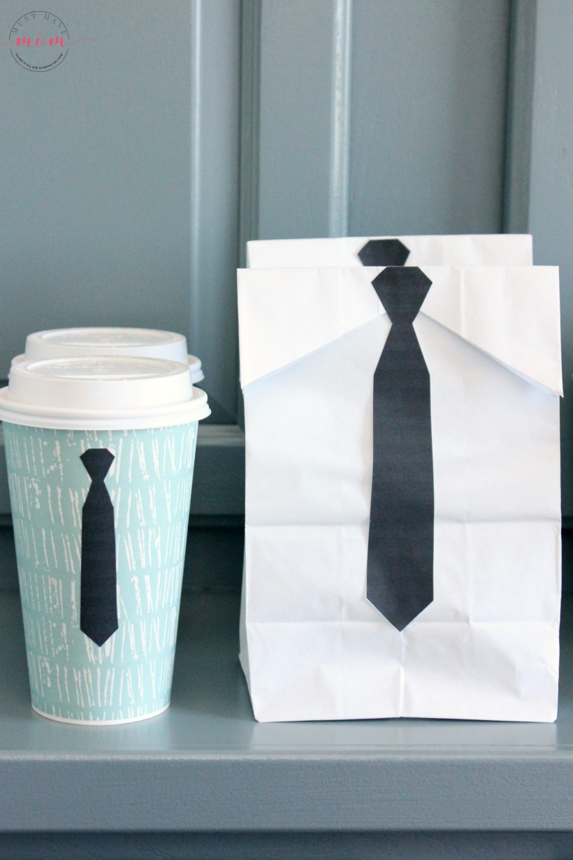 Boss Baby Espresso and Donuts Party Food Idea with Free Printable! Cute bags and coffee cups with executive tie printable!