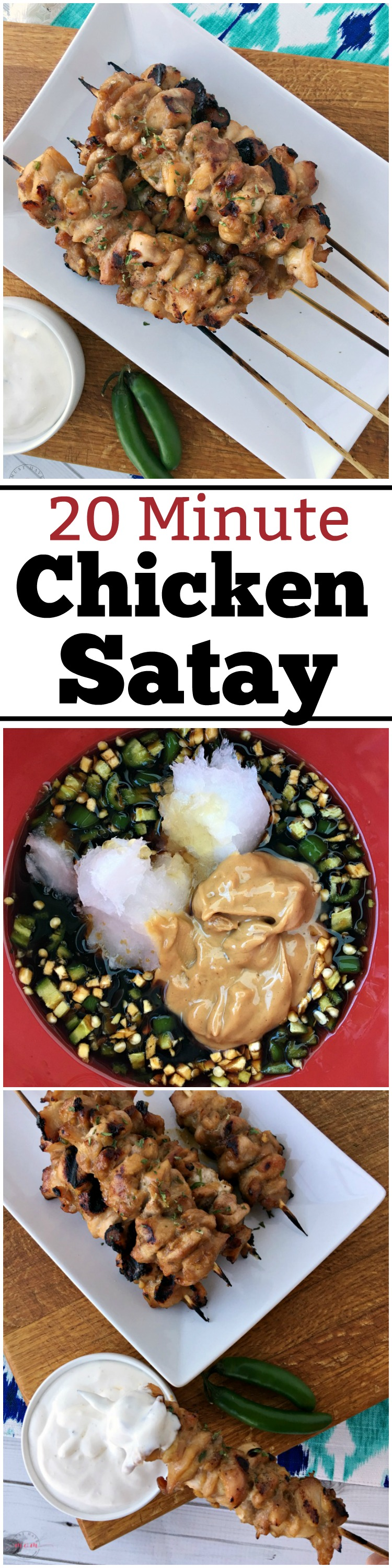 20 minute quick and easy chicken satay recipe with chicken satay marinade that doesn't require any time in the fridge! Super flavorful! Grill or oven