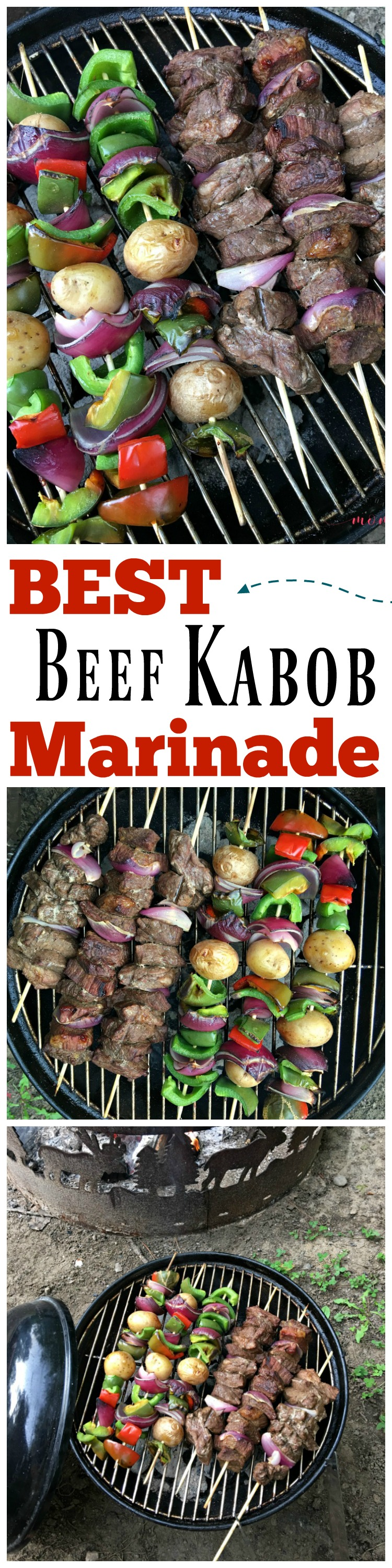 BEST beef kabob marinade recipe! These beef kabobs on the grill marinade recipe is our favorite camping recipe.