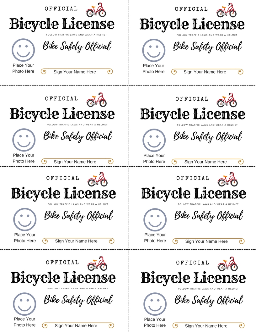 Free printable bike safety license to teach kids bicycle safety through play. Fun pretend play driver's license for kids.
