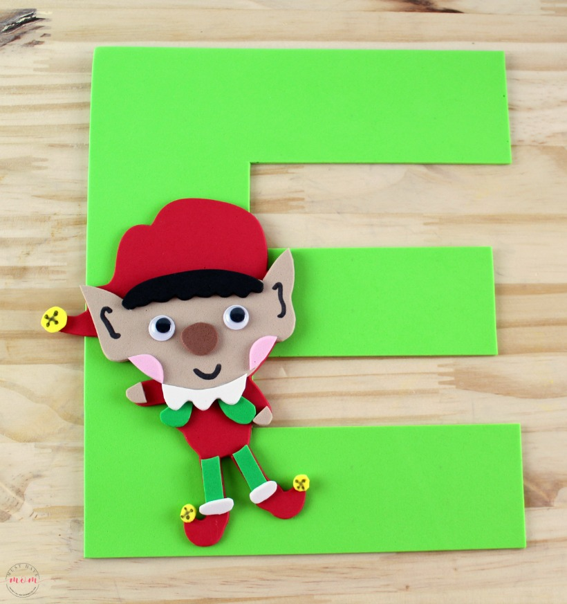 Weekly letter craft series! E is for Elf with free printable E and Elf templates. Kids preschool letter craft idea.