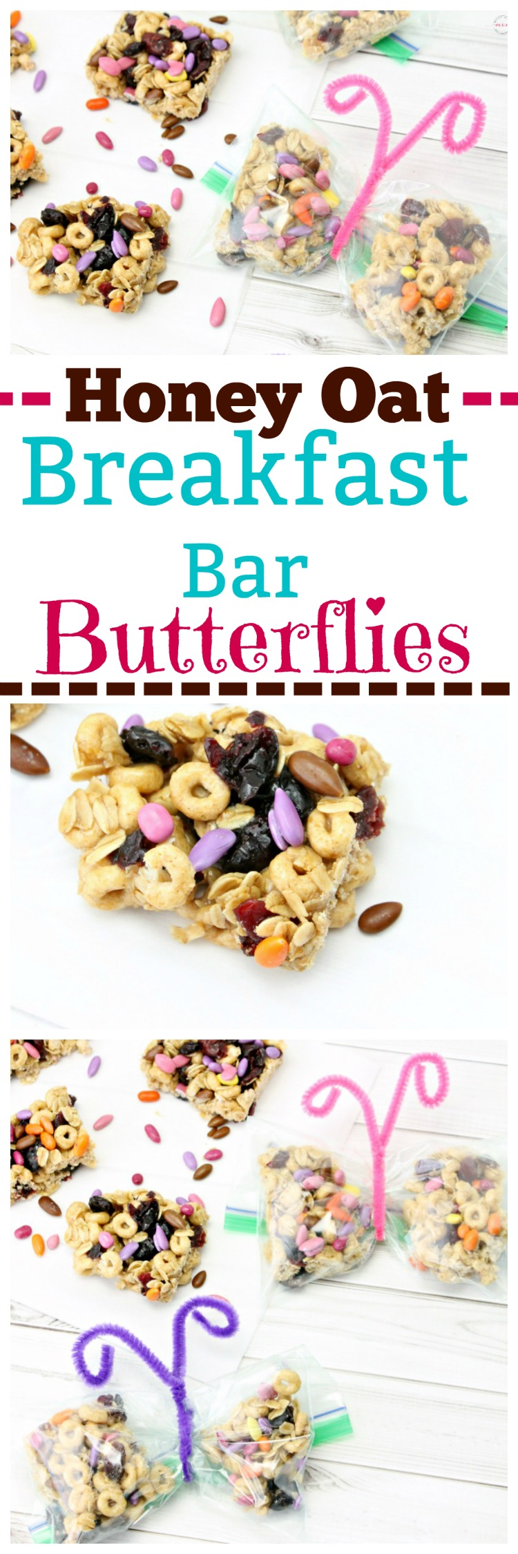 Healthy honey nut oatmeal breakfast bar recipe turned into cute lunchbox butterfly baggies! Easy breakfast or snack for kids and adults.