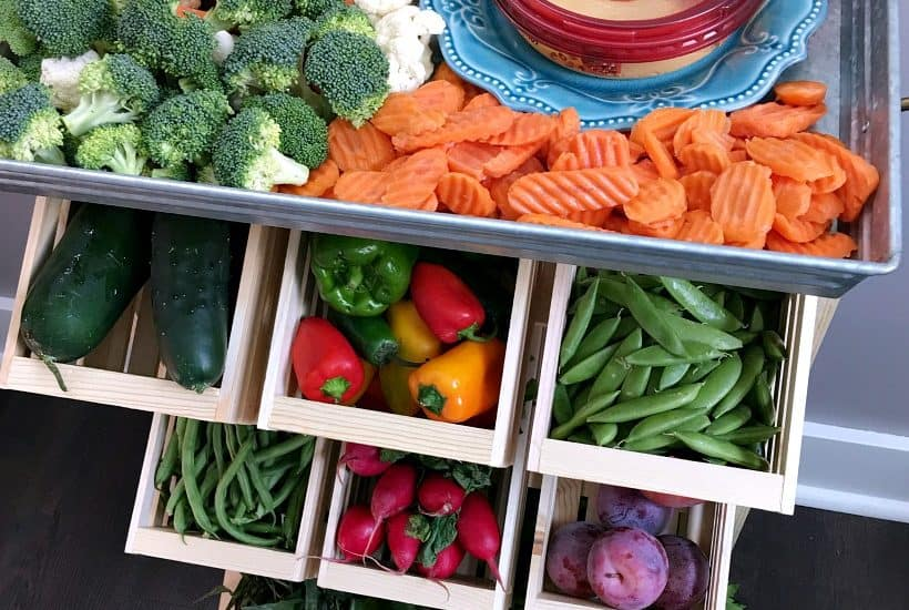 Farmhouse style produce storage. Produce stand DIY tutorial with farmer's market veggie ideas!