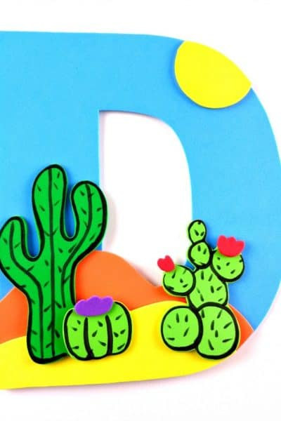 Weekly letter craft ideas! Letter D is for Desert preschool or kindergarten craft tutorial for learning letters.