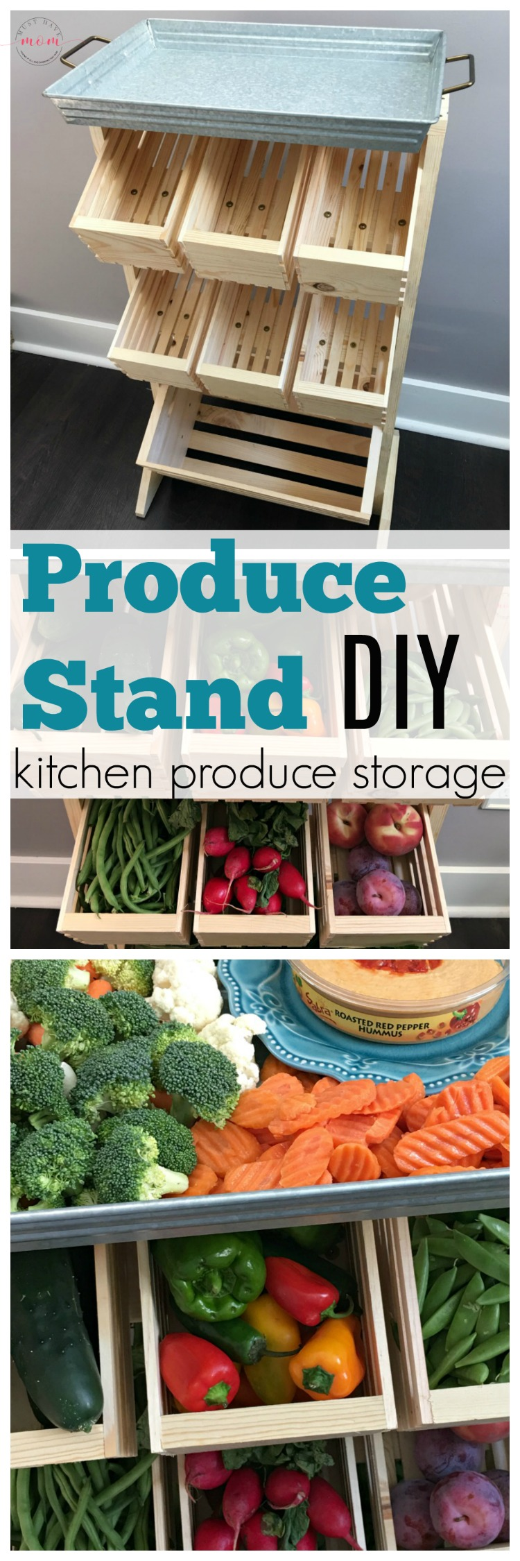 Farmhouse style produce storage. Produce stand DIY tutorial with farmer's market veggie ideas!