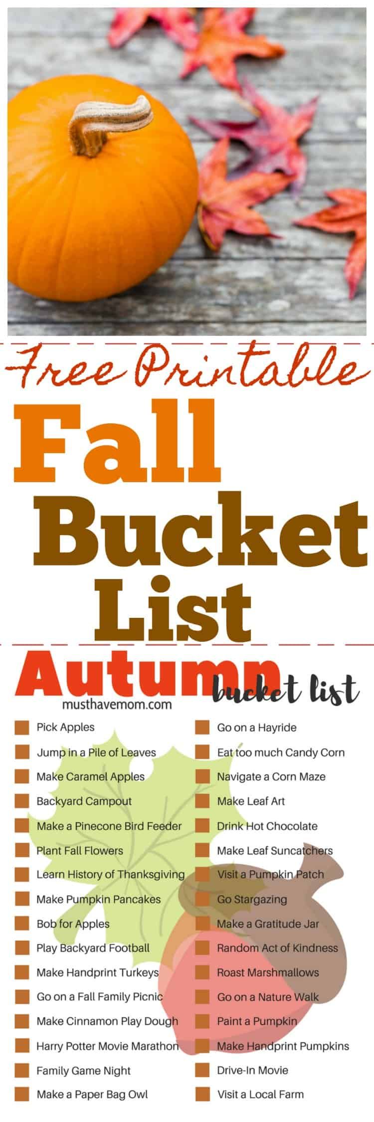 Fall bucket list free printable. Fun list of things to do in fall.
