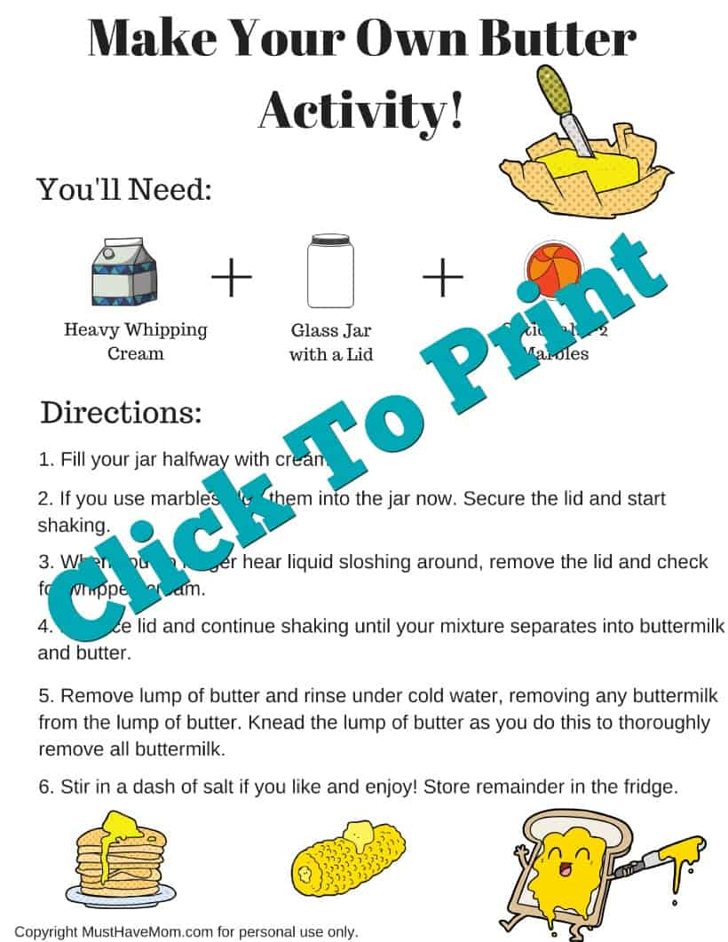 Make Your Own Butter free printable directions - Must Have Mom