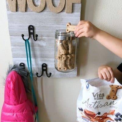 DIY Dog Sign with Treat Jar & Leash Holder
