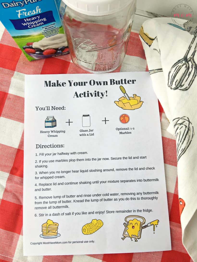 How to make your own butter using one ingredient! Great kids science / dairy farming learning activity! Free printable directions sheet.