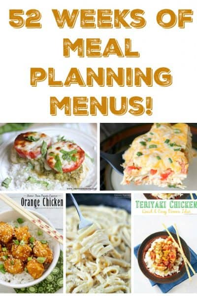 52 weeks of FREE weekly meal plans! Grab your year of meal planning menus right now!