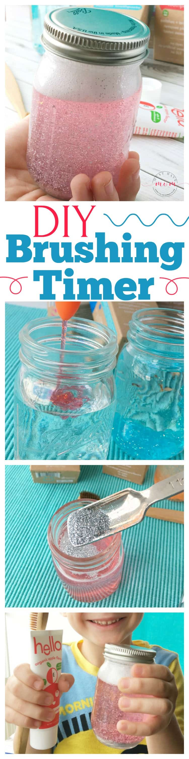 DIY toothbrush timers to help kids learn to brush with fluoride free toothpaste!