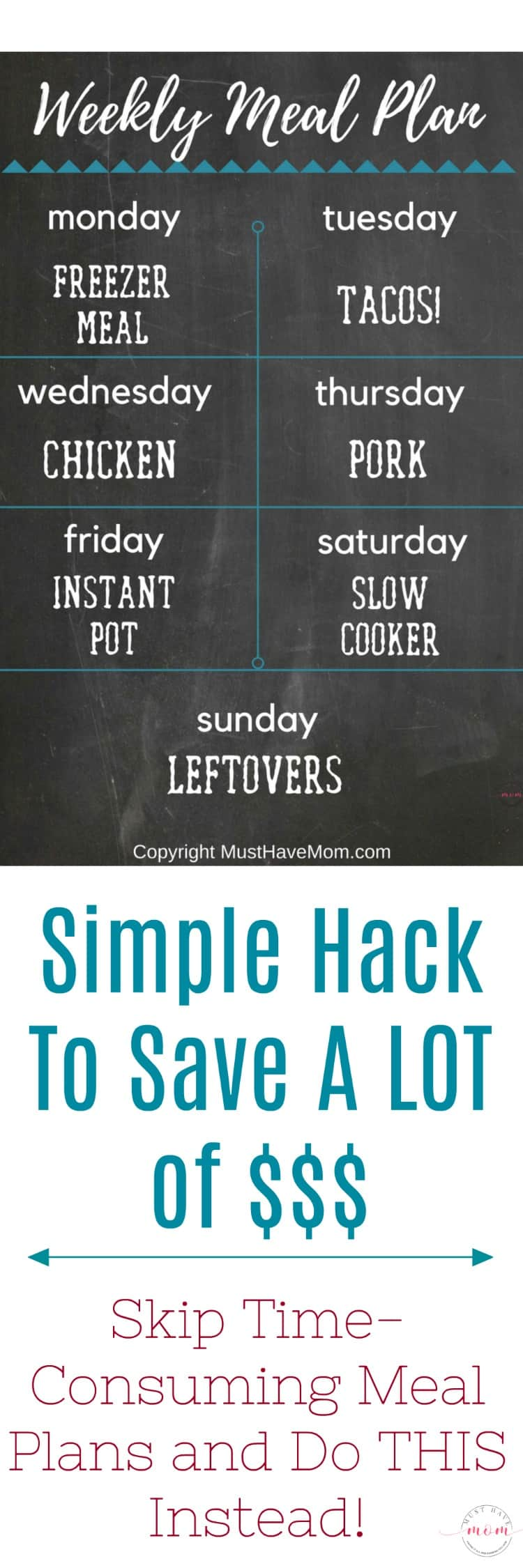 Easy weekly meal plan hack that saves tons of money and time! Quit wasting time meal planning and do this instead!