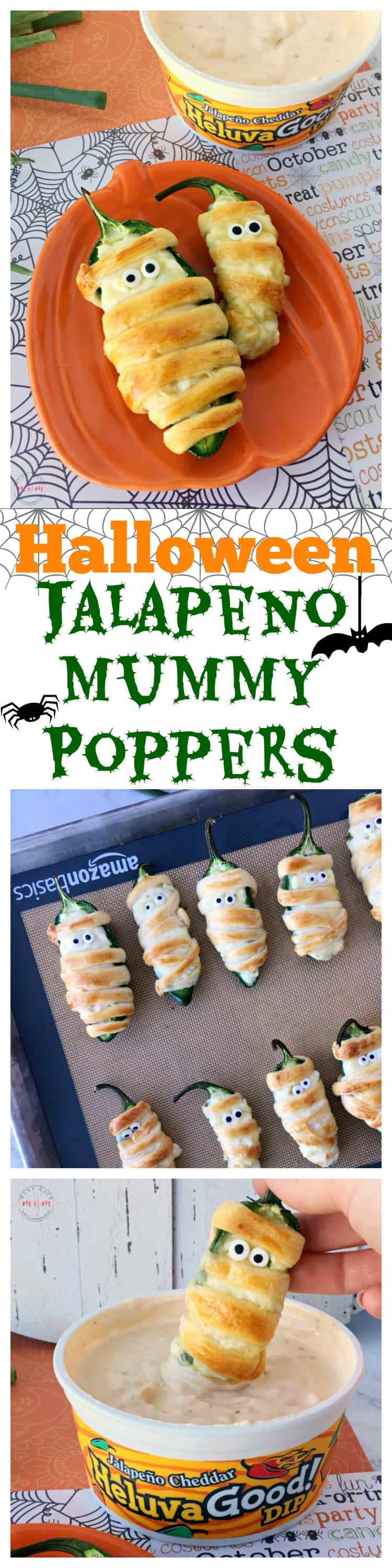 Halloween food idea! Mummy jalapeno poppers in oven. Baked jalapeno poppers are easy and this recipe uses healthier ingredients.