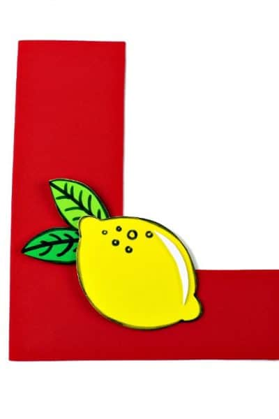 Letter of the Week L is for Lemon letter craft. Educational kids activities to learn letter recognition.