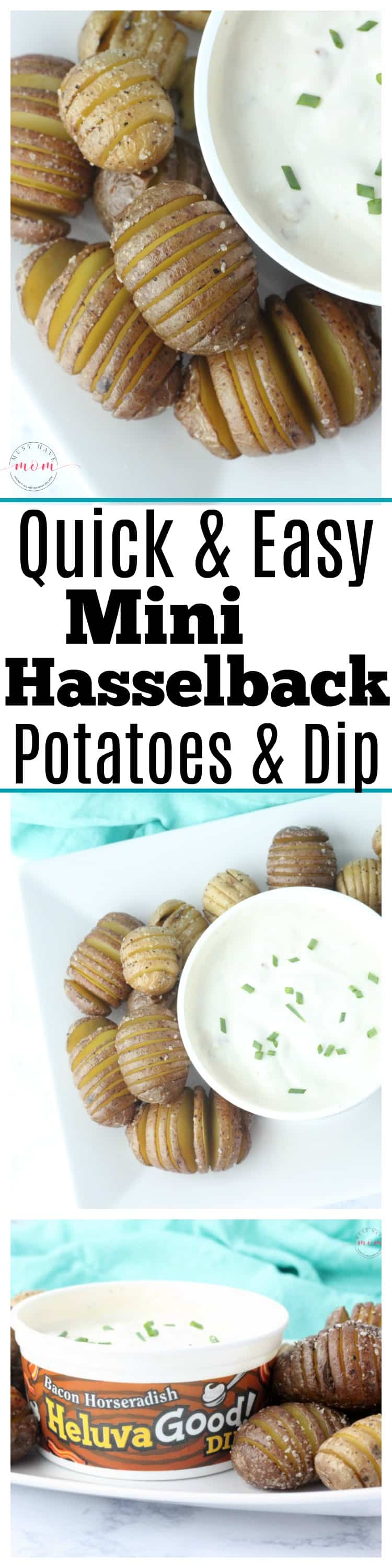 Mini hasselback potatoes recipe with bacon horseradish dip. Great party food idea or side dish + it's quick and easy.