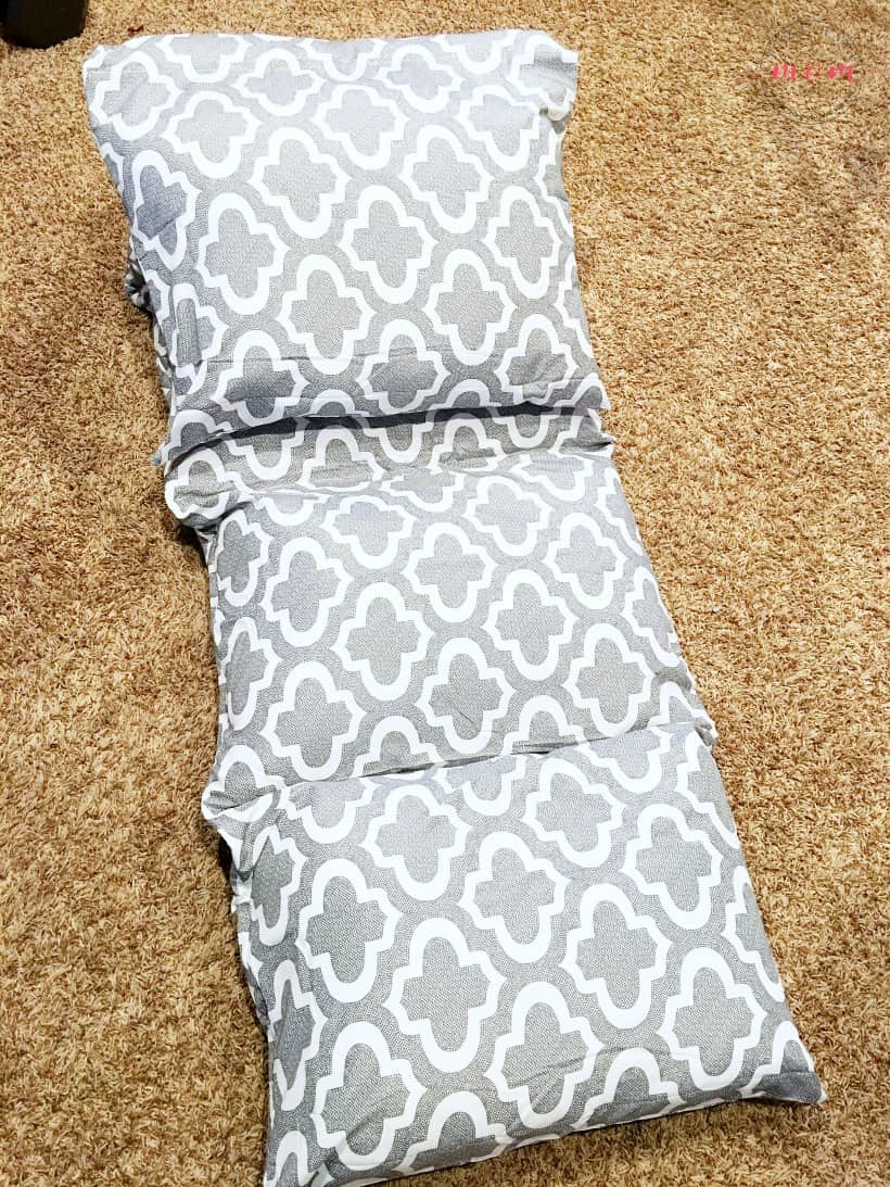 DIY Floor Pillow for kids! Fun and easy kid floor pillow sewing pillowcases or a flat sheet stuffed with pillows! Benefits of carpet